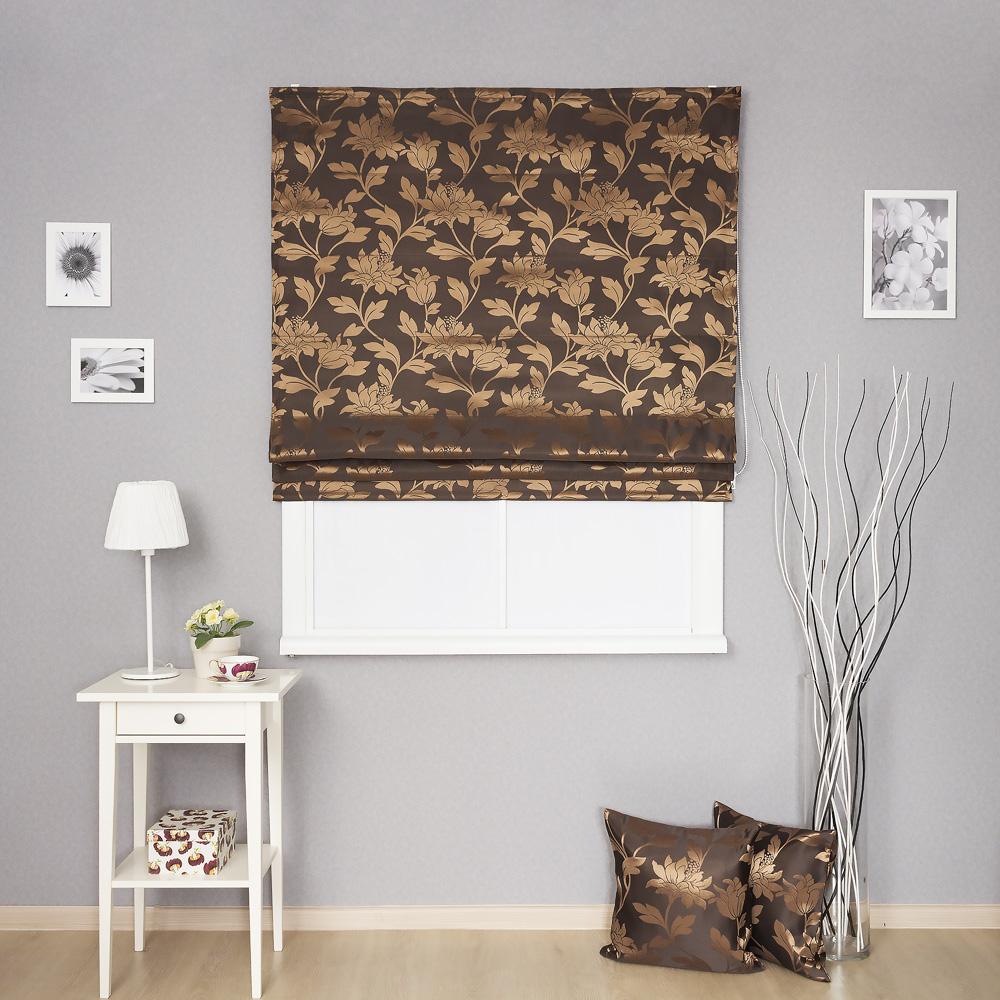 Римская штора с цветочным рисунком золотистого цвета