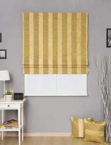 Римская штора в полоску горчичного цвета Jessica 1
