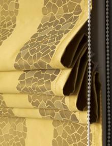 Собранная римская штора в полоску горчичного цвета