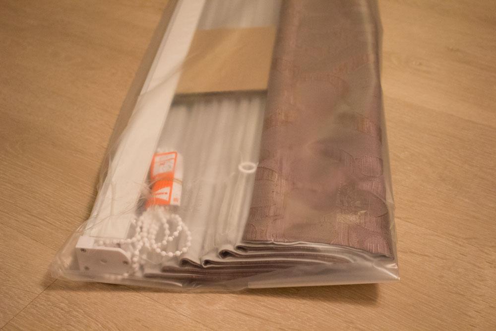 Внутренняя упаковка штор, штора укреплена ложементами