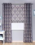 Комплект готовых штор из ткани с классическим рисунком, римская штора и шторы на люверсах
