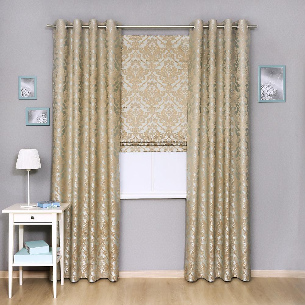 Комплект штор лазурного цвета из ткани с классическим рисунком