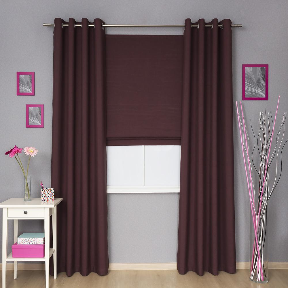 Комплект штор для спальни, римская штора и шторы на люверсах