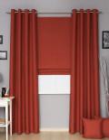 Готовые шторы терракотового цвета римская штора и шторы на люверсах в комплекте