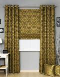 Комплект штор в классическом стиле состоит из римской шторы и штор на люверсах
