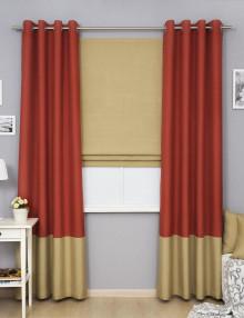 Комплект штор терракотового и оливкового цвета