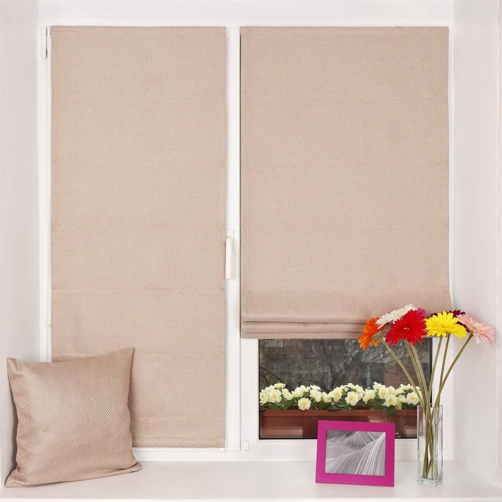 Римские шторы пудренного цвета мини на пластиковом окне
