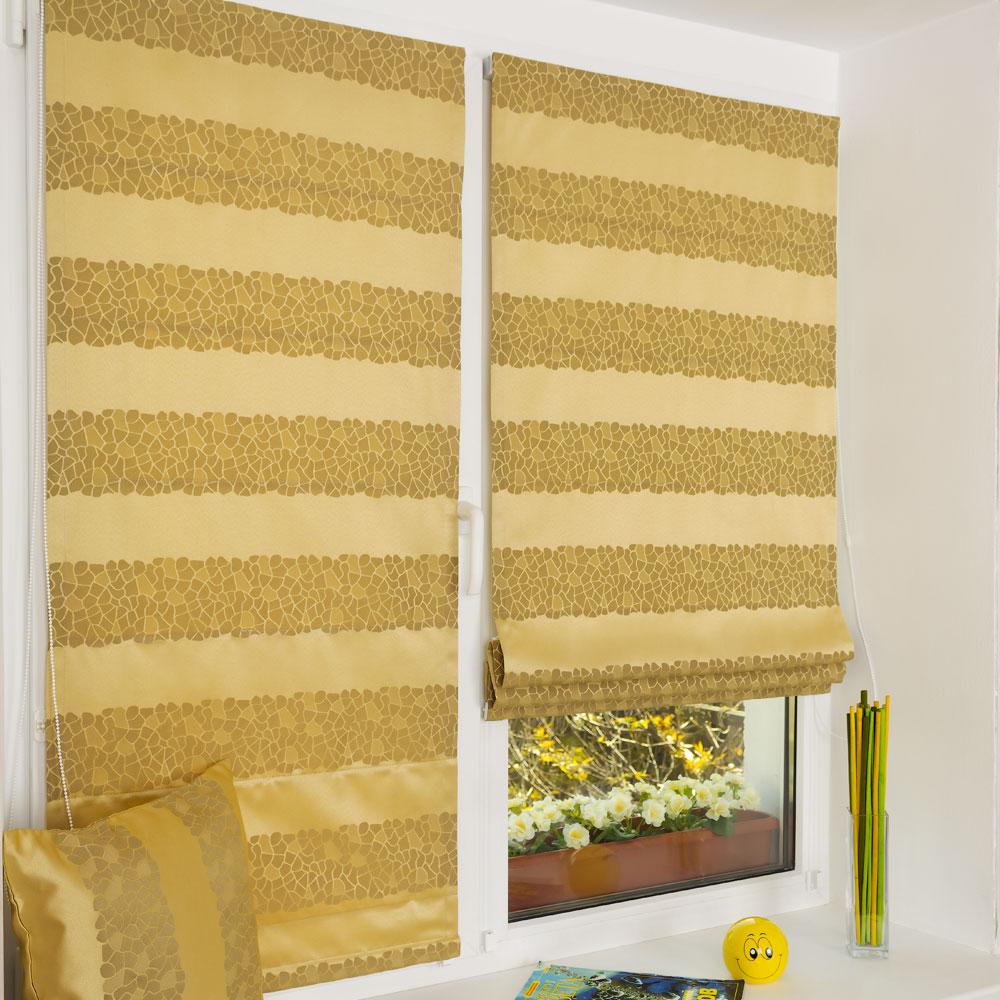 Мини римские шторы из ткани в полоску