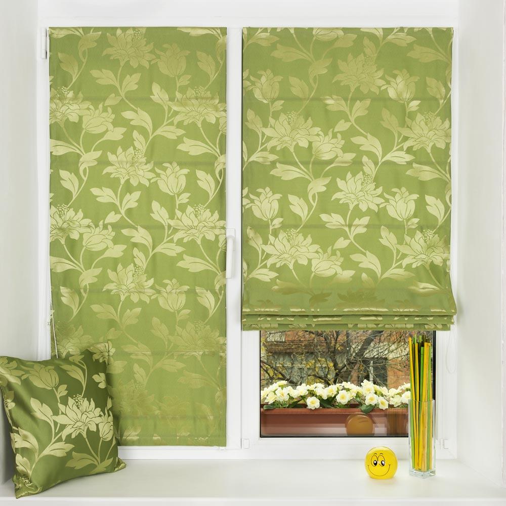 Римские шторы на открывающемся окне и глухом окне