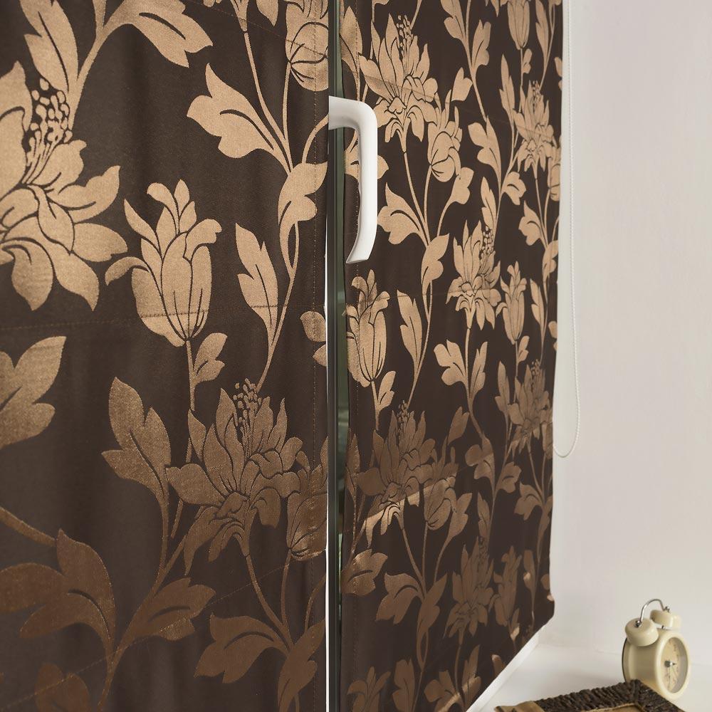 Мини римские шторы коричневого цвета из ткани с цветочным рисунком