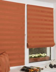 Красные римские шторы без сверления на пластиковом окне