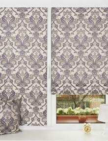 Мини римские шторы графитового цвета с классическим рисунком установленные на пластиковом окне без сверления