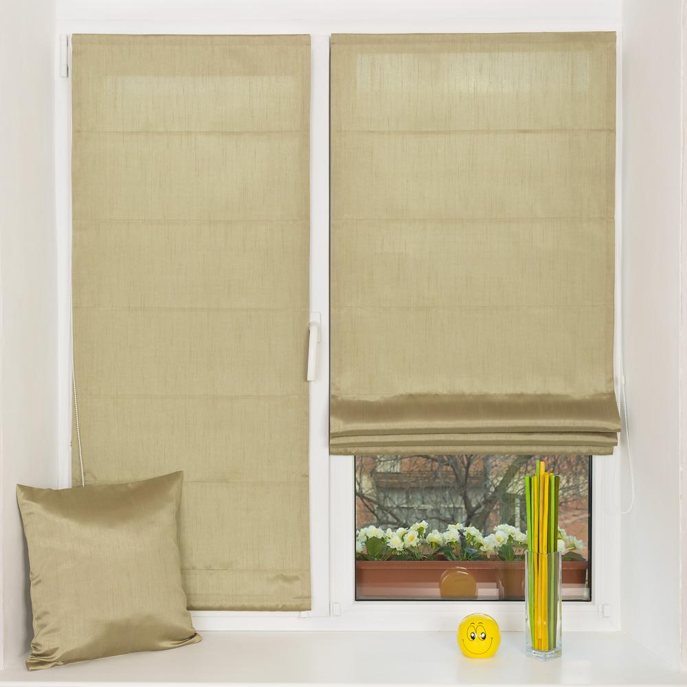 Мини римские шторы на пластиковом окне с установкой без сверления