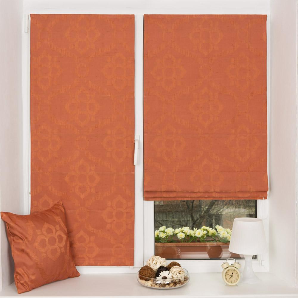 Мини римские шторы из ткани с класическим рисунком установленные без сверления