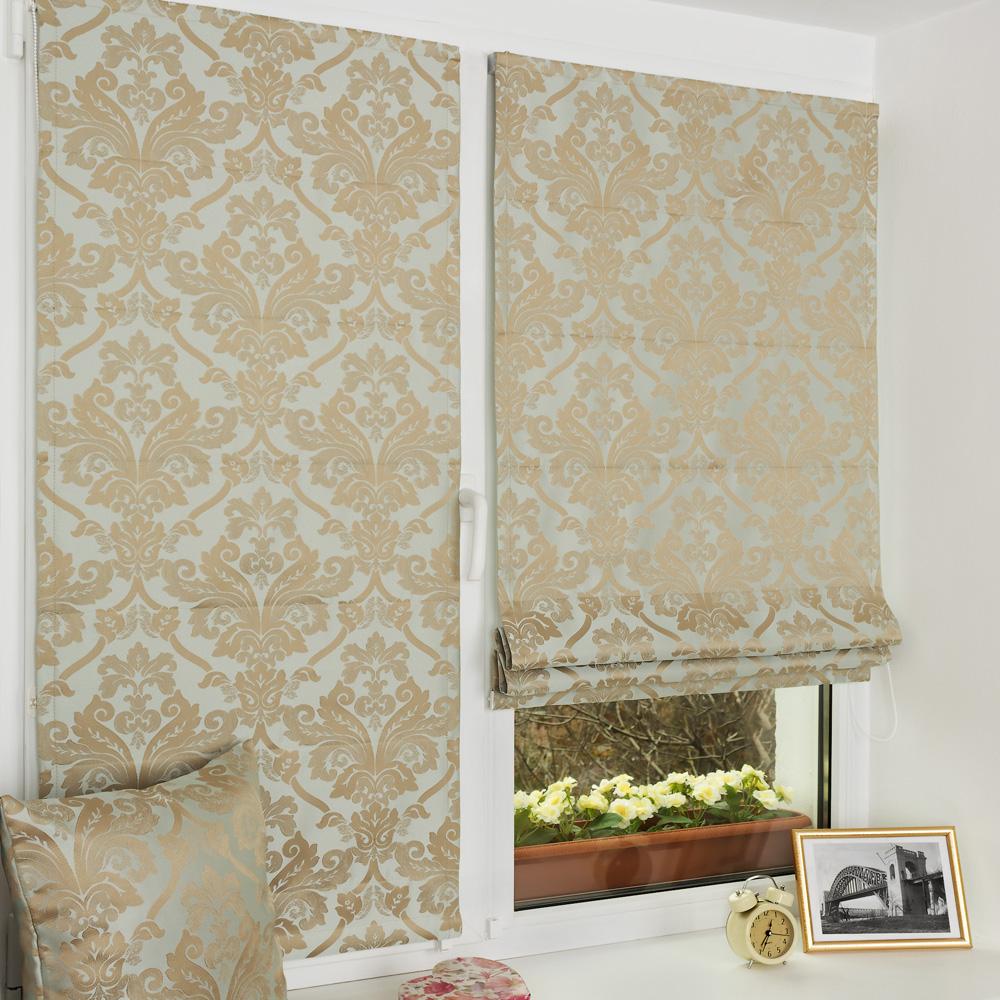 Мини римские шторы лазурного цвета на пластиковом окне с установкой без сверления