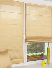Мини римские шторы золотистого цвета из легкой ткани