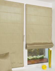 Две красивые мини римских шторы оливковово цвета из легкой ткани