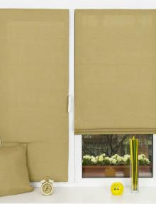Красивые однотонные мини римские шторы обивкового цвета из ткани типа рогожка установленные на пластиковом окне без сверления