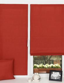Красивые красные мини римские шторы установленные на пластиковом окне без сверления