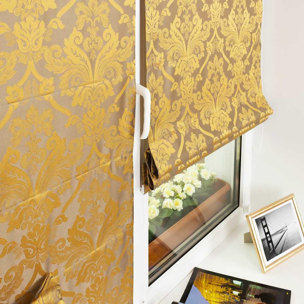 Мини римские шторы золотистого цвета на пластиковом окне