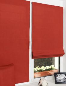 Мини римские шторы на окне из красной ткани рогожка на пластиковом окне