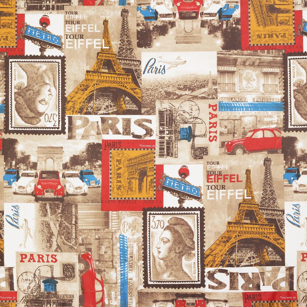 Шторы из ткани с принтом Paris Париж в виде марок и открыток