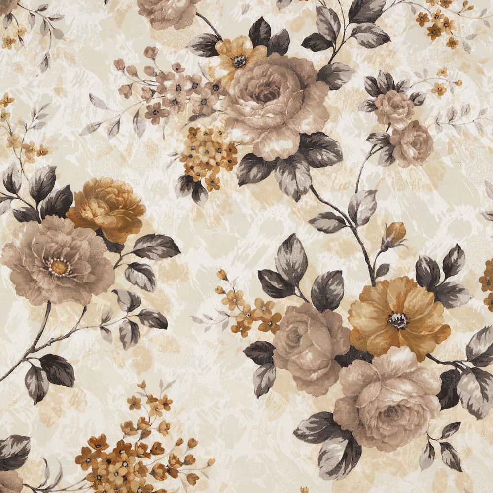 Портьерная ткань с цветочным принтов оттенки коричневого