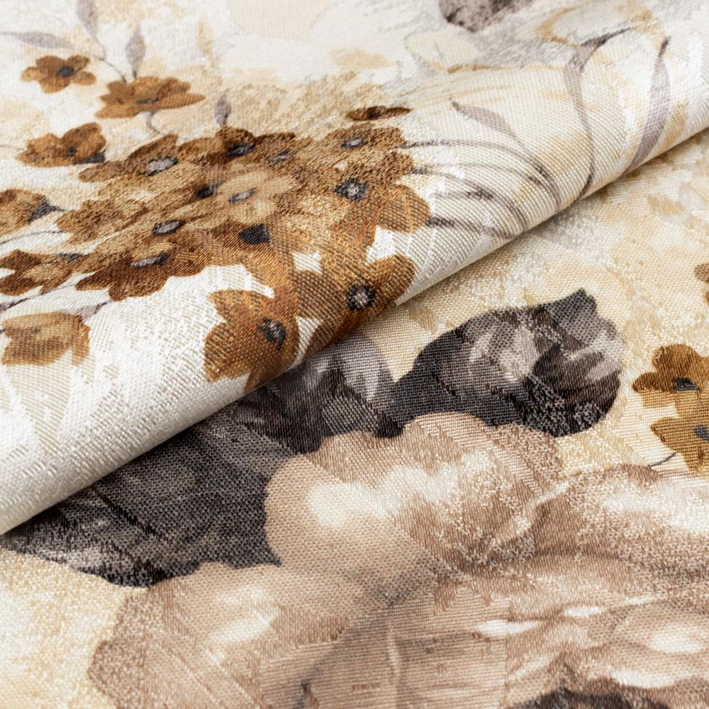 Ткань Lauren для штор имеет цветочный принт коичневого цвета