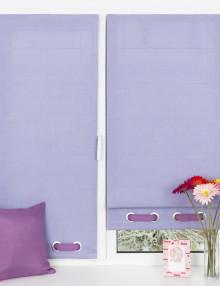Красивые мини римские шторы нежного лавандового цвета декорированные люверсами.