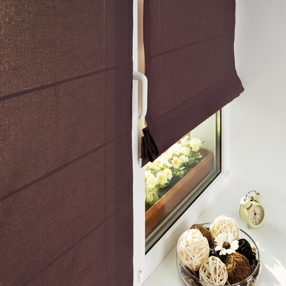 Мини римские шторы цвета махагон из ткани Diana M20
