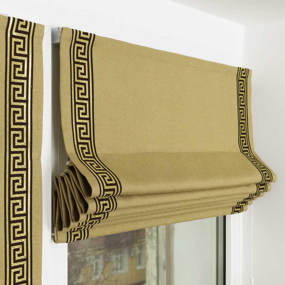 Мини римские шторы оливкового цвета с декоративным кантом под названием греческий ключ