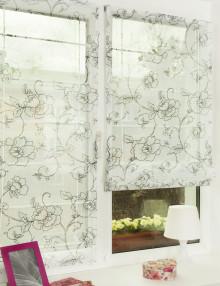 Красивые мини римские шторы из легкой ткани с цветочным рисунком установленные без сверления