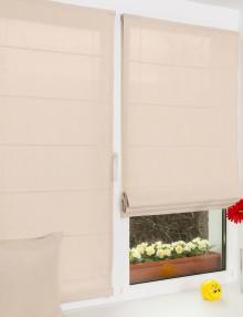 Две красивые мини римские шторы ванильного цвета на окне установленные без сверления