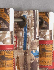 "Штора на люверсах из ткани с тематическим принтом "" Париж, Марки"""