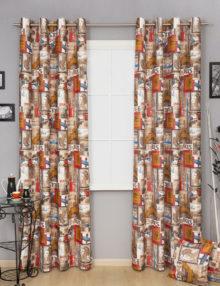 Две красивые шторы на люверсах для комнаты подростка или детской