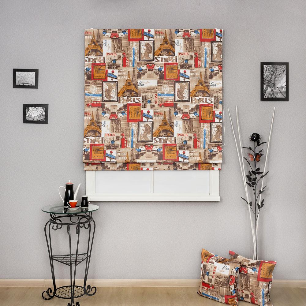 """Римская штора с тематическим принтом """"Париж Марки"""" может стать ярким дополнением к интерьеру. На римской шторе изображены французкие марки прошлого века."""