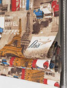 """Римская штора из ткани с печатным принтом """"Париж Марки"""""""