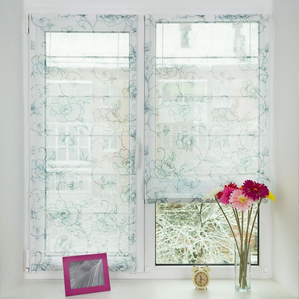 Мини римские шторы из полупрозрачной ткани с цветочным принтом