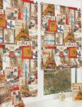 Две красивые яркие мини римские шторы на пластиковом окне с установкой без сверления