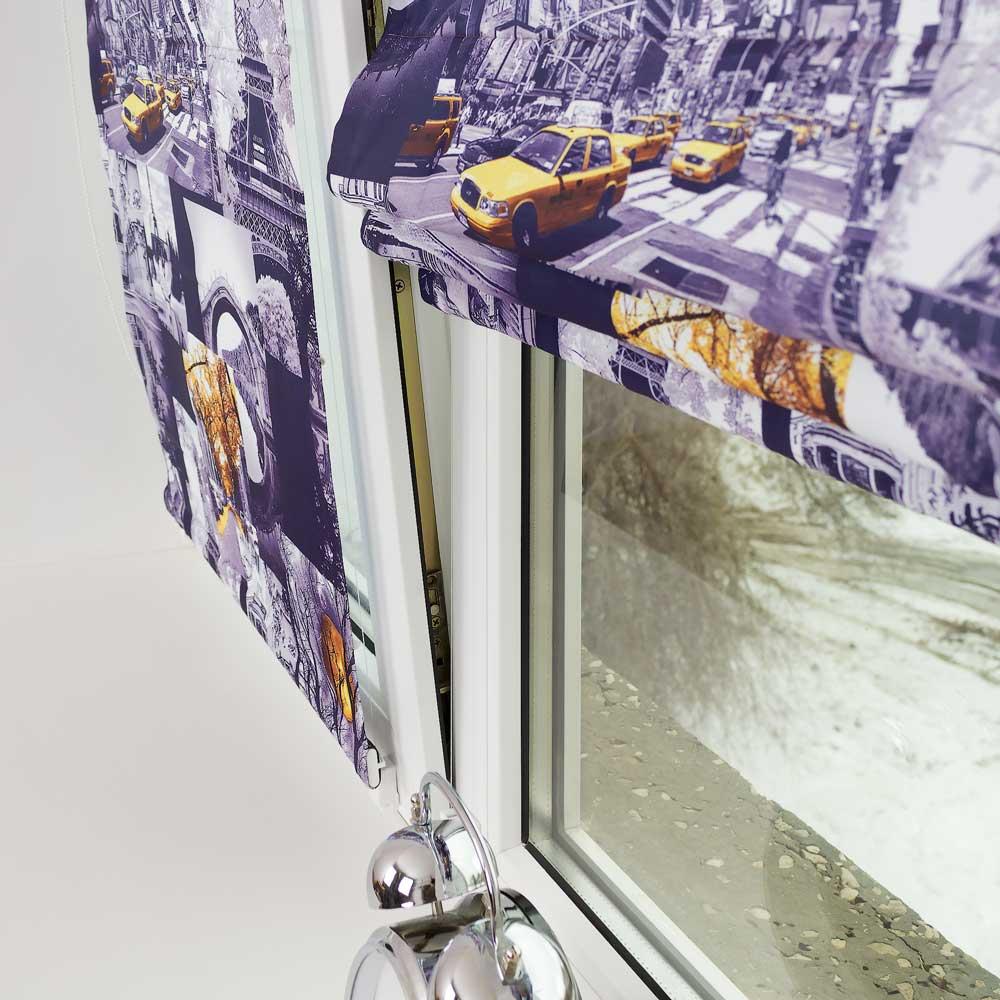 Мини римская штора с тематическим принтом Париж