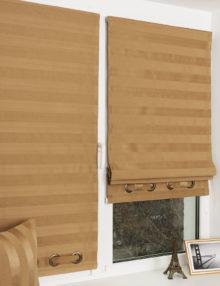 Мини римские шторы из ткани Lily 70 деркорированные люверсами.