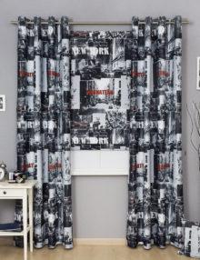 Комплект стильных штор на люверсах и римская штора из ткани с принтом