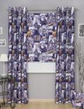 Комплект штор из римской шторы и штор на люверсах из ткани с принтом Париж