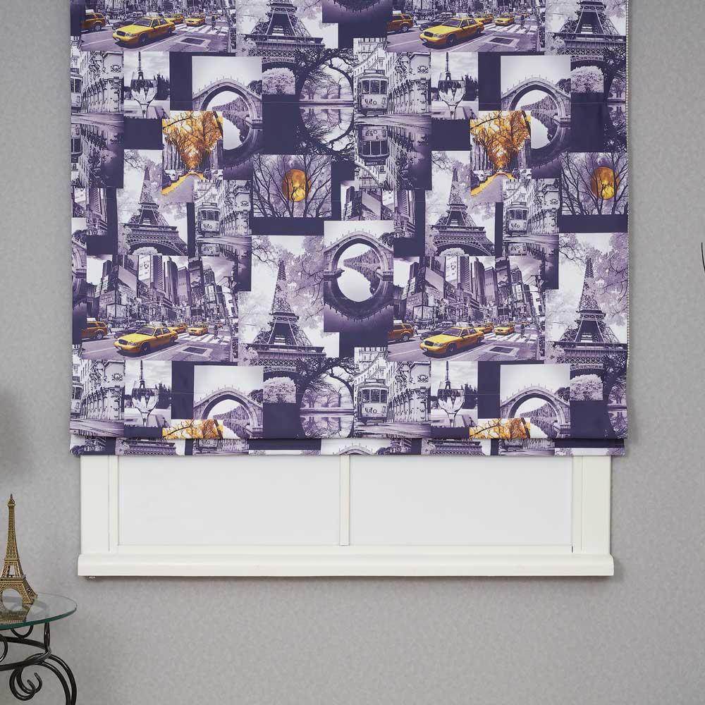 Римская штора из ткани с принтом Париж