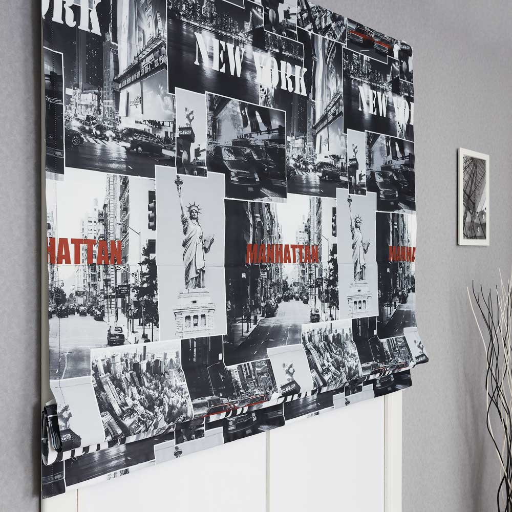 Римские шторы с стильным принтом Нью-йорк