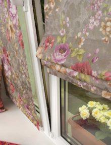 Красивые мини римские шторы с цветочным рисунком для кухни