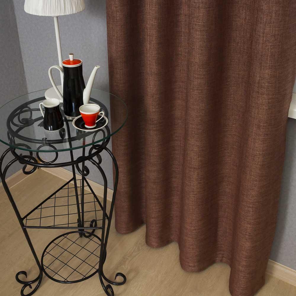 Штора из ткани шоколадного цвета с окасом меланж