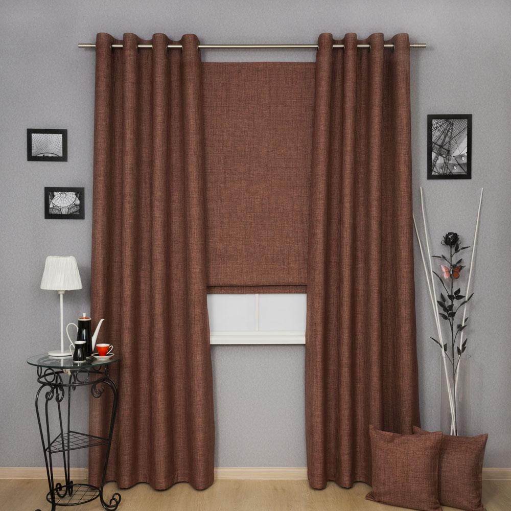 Комплект штор из ткани блэкаут шоколадного цвета