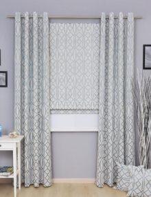 Комплект из римской шторы и штор на люверсах и декоративные подушки