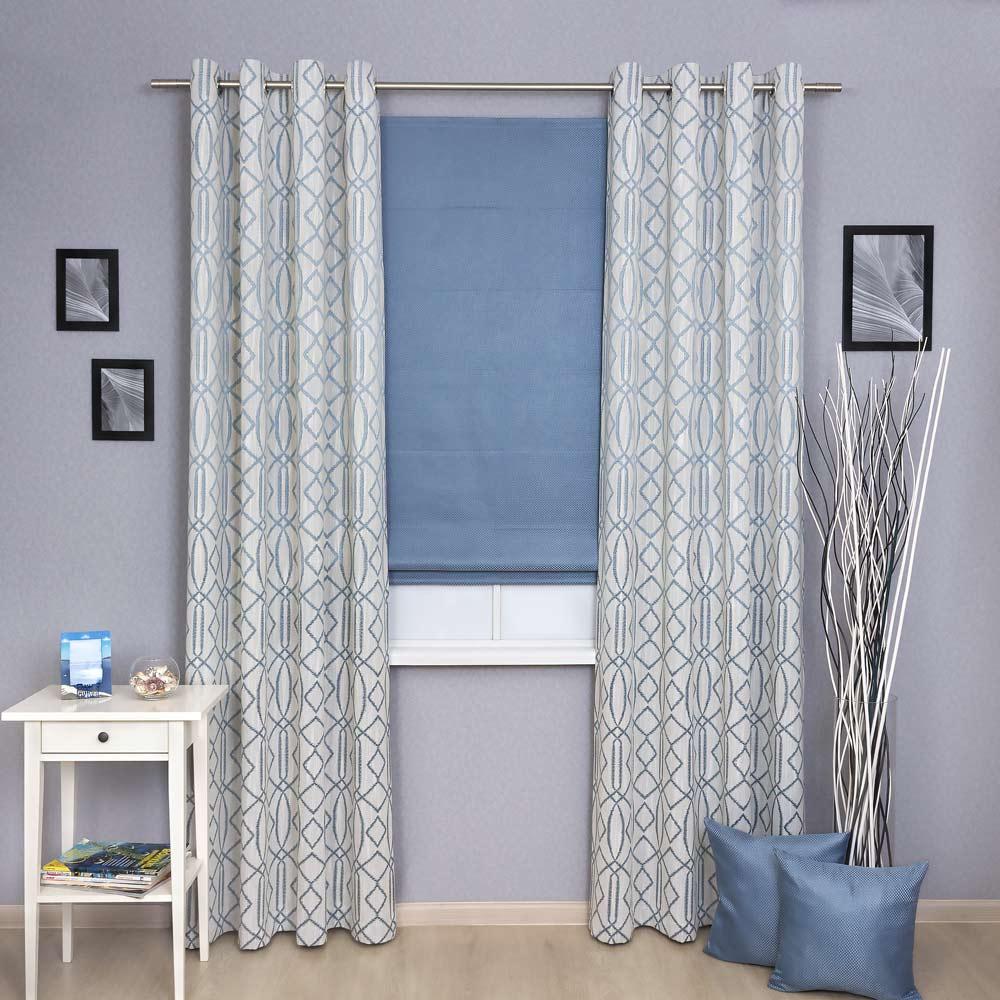 Комплект из яркой римской шторы и шторы на люверсах
